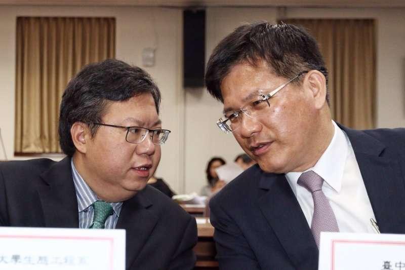 同為野百合世代的鄭文燦(左)、林佳龍(右),為2020大位既鬥爭又聯合。(新新聞資料照)