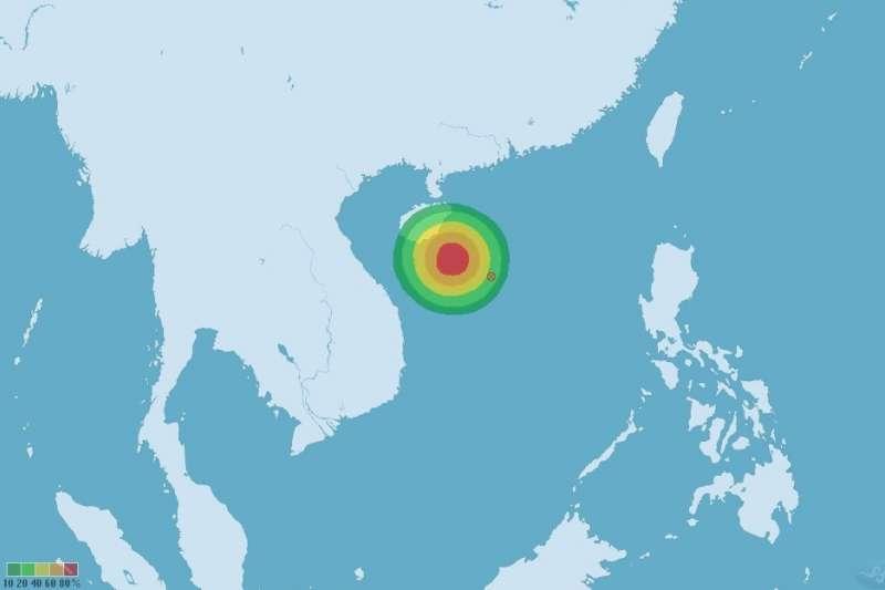 南海上出現熱帶性低氣壓,預估最快31日會形成颱風。(圖/取自中央氣象局)
