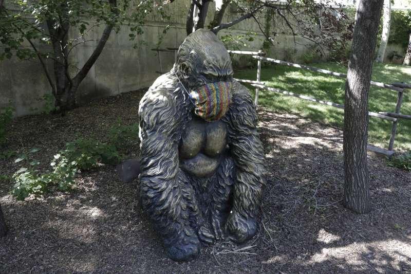 美國猶他州鹽湖城動物園的動物雕像也戴上口罩(AP)
