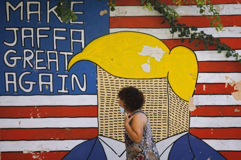 2020美國總統大選:以色列特拉維夫街頭的川普塗鴉(AP)