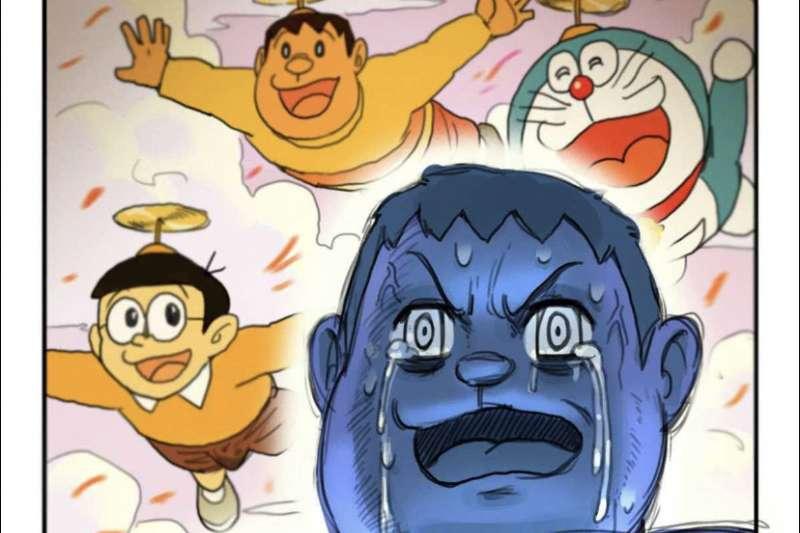 中國插畫家「禾野男孩」創作的《哆拉A夢》同人18禁漫畫《哆啦AV夢》,在台港社群平台爆紅。(取自《哆啦AV夢》)