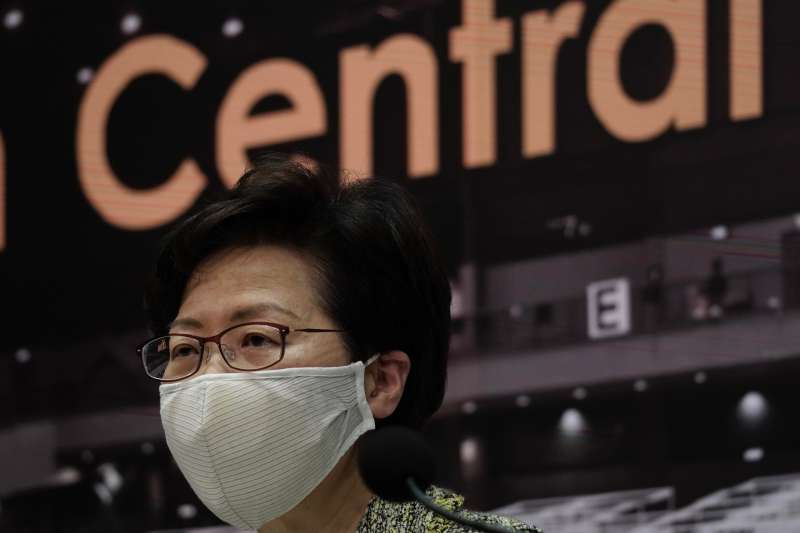 香港特首林鄭月娥。美國財政部基於《香港自治法》,宣布制裁12位中國與香港官員。(AP)