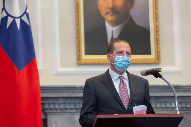 美國衛生部長艾薩(Alex Azar)(見圖)於致詞時,疑似誤讀總統蔡英文的姓氏。(總統府提供)