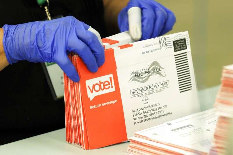 美國總統初選郵寄選票信封。(AP)