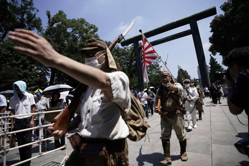 2020年8月15日,二戰終戰75周年,日本極右派分子參拜靖國神社(AP)