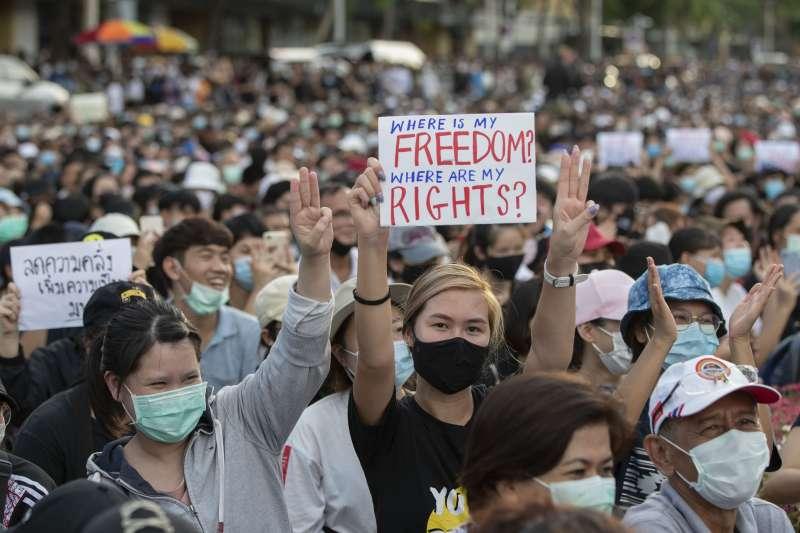 2020年8月,泰國爆發大規模反政府示威(AP)