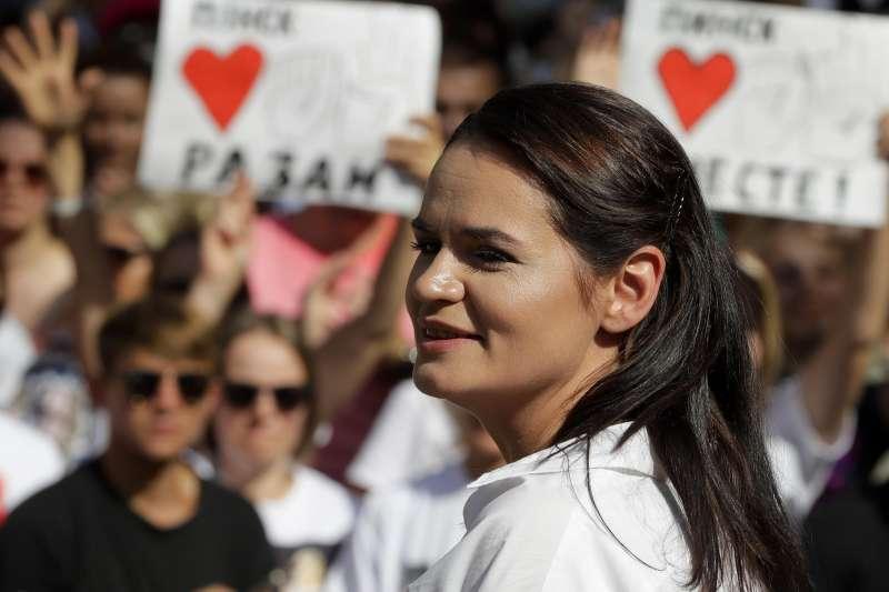 2020年白羅斯(白俄羅斯)總統候選人、革命領導人蒂卡諾夫斯卡婭(Svetlana Tikhanovskaya)(AP)