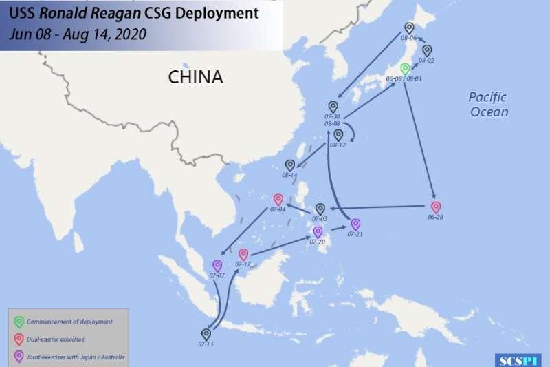南海戰略態勢感知計畫所公布的美軍「雷根號」航空母艦航行軌跡。(南海戰略態勢感知計畫)