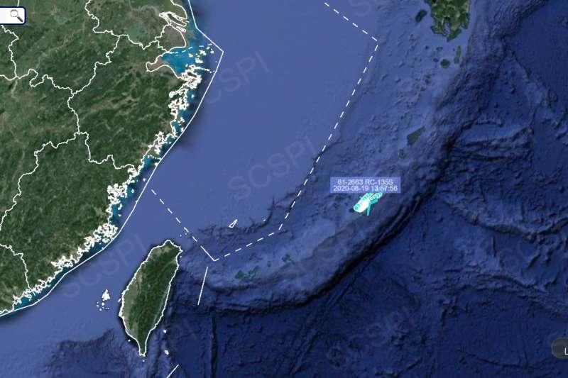 8月19日,美軍RC-135S偵察機的飛行軌跡。(南海戰略態勢感知計畫)