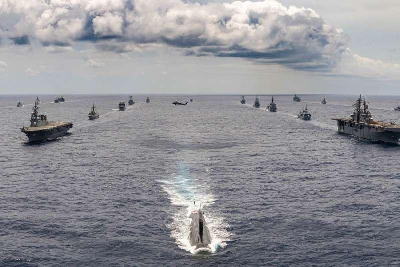 2020環太平洋軍演的壯盛軍容。(美軍太平洋艦隊臉書)
