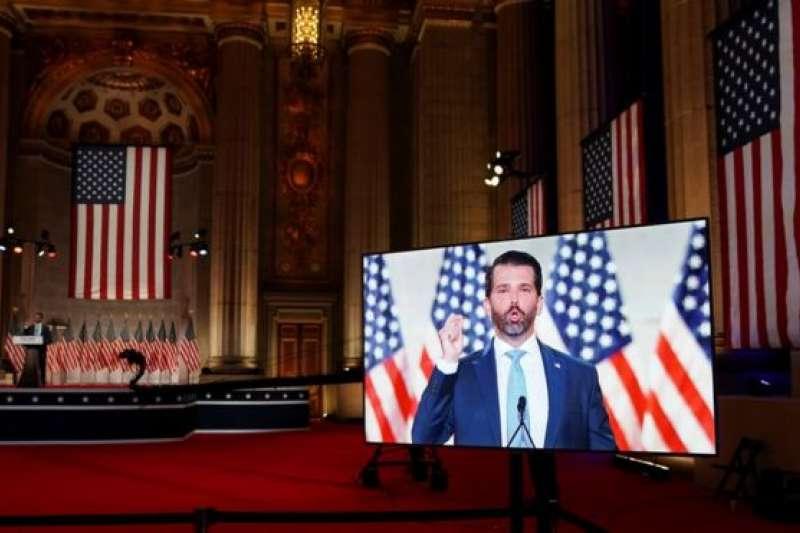 共和黨全國代表大會期間,播放了小唐納德預先錄製的演說片段。(BBC中文網)