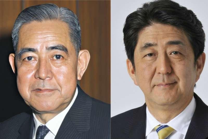 兩位連續在任時間最久的首相:佐藤榮作與安倍晉三。(維基百科/風傳媒合成)
