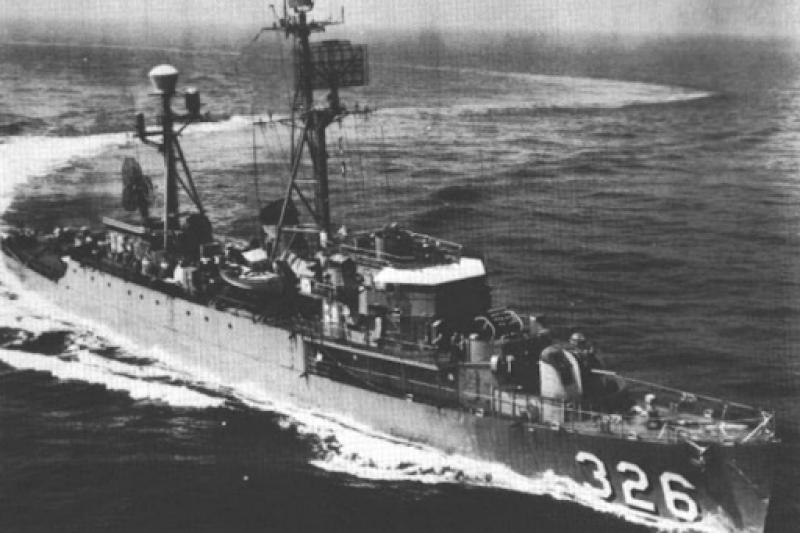 最早抵達台灣的盟軍軍艦,為驅逐艦蓋瑞號,在1945年9月5日駛入基隆港。(許劍虹提供)
