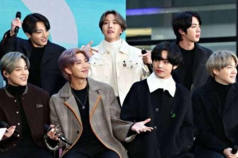 韓國BTS組合的7名成員。(BBC News中文)