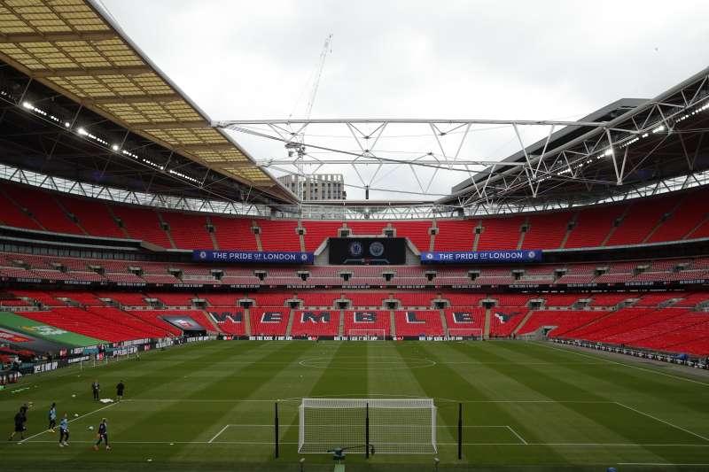 英超因中國數位轉播公司PPTV欠款而取消電視轉播權,圖為倫敦溫布利球場(AP)