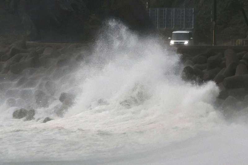 2020年9月,颱風海神侵襲日本。(AP)