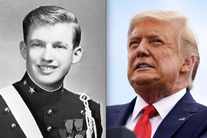 左:川普18歲時在紐約軍事學院的畢業照。右:74歲的川普在造勢大會上宣稱自己最尊敬美軍,也最受美軍喜愛。(左:維基百科/公用領域 右:美聯社)
