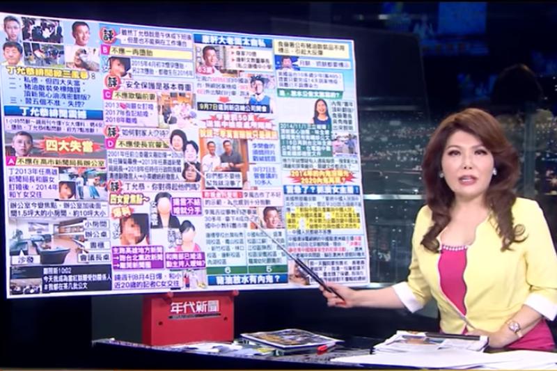 主播張雅琴批評總統府前發言人丁允恭,「你連開房間的錢都沒有嗎?」(取自《年代新聞》Youtube)