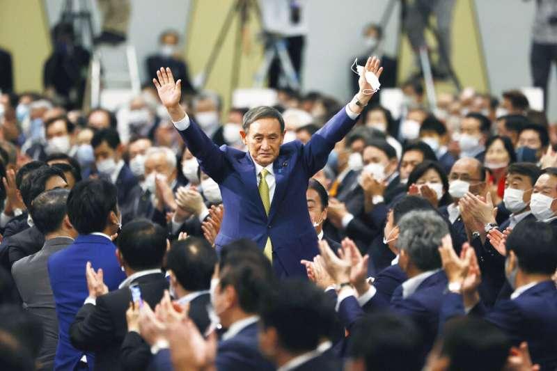 日本自由民主黨14日舉行總裁改選,菅義偉一如預期以高票勝出。(美聯社)