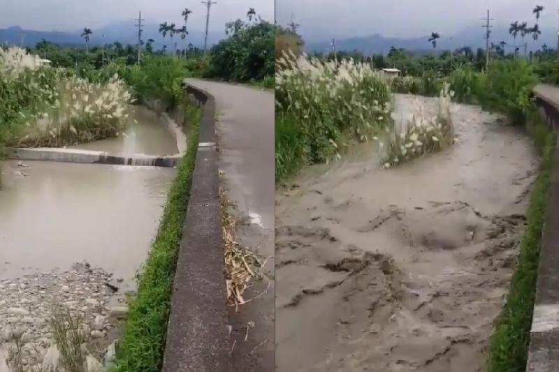 有網友於臉書分享河水暴漲影片,提醒大家玩水務必特別注意。(取自臉書)