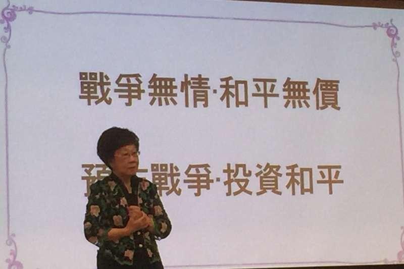前副總統呂秀蓮在「台中美大未來」論壇,提出「雙兩岸關係論述」。(作者提供)