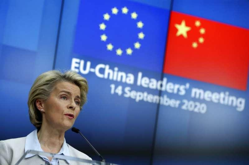 歐盟輪值主席國德國總理梅克爾、歐盟執委會主席馮德賴恩(圖)、歐洲理事會主席米歇爾14日與中國國家主席習近平舉行視訊峰會。(美聯社)