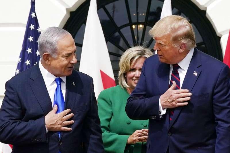 美以關係。美國總統川普與以色列總理納坦雅胡。(美聯社)