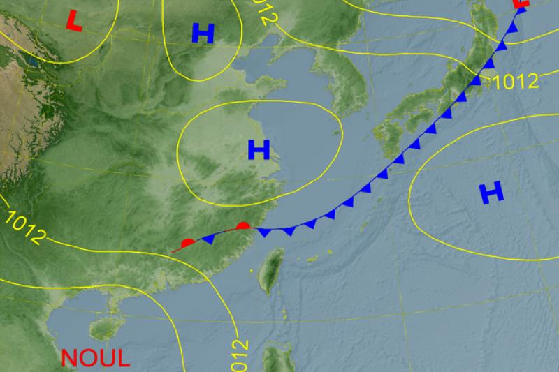 20200916-氣象局發布9月18周五天氣預測圖,表示鋒面將通過(圖/取自氣象局)