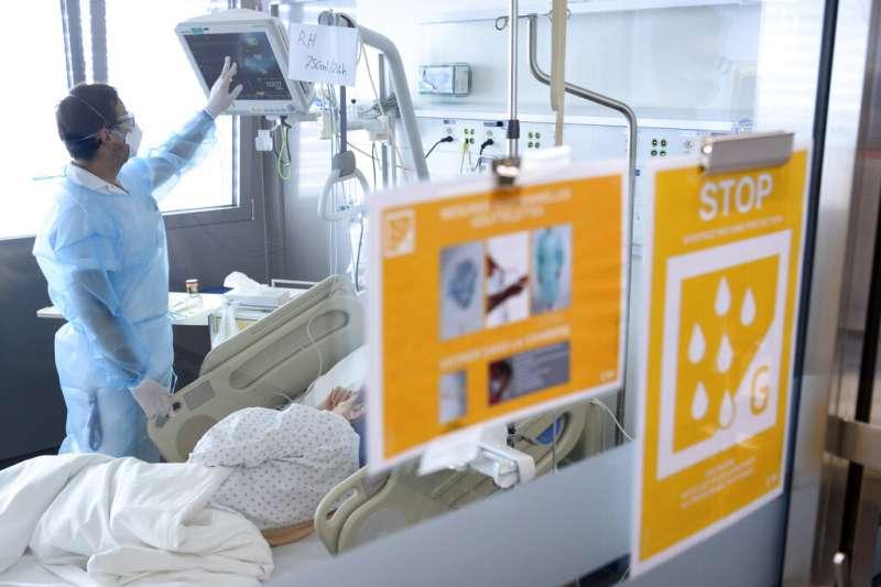瑞士的新冠肺炎患者病房。(美聯社)