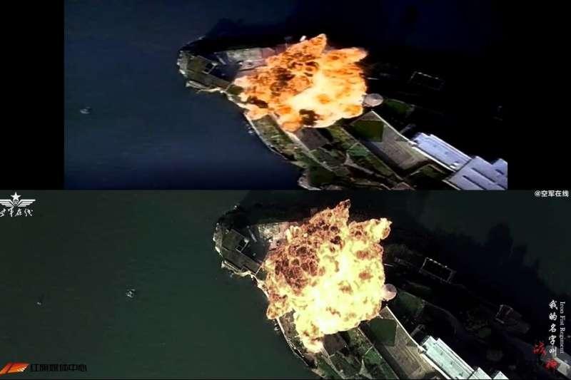 中國空軍文宣影片被網友抓包,當中拼接好萊塢強片「變形金剛」及「絕地任務」等電影片段,引發抨擊。(圖上取自YouTube 電影 YouTube頻道網頁/圖下取自「空軍在線」微博)