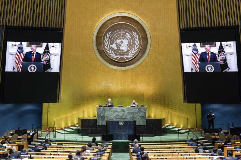 聯合國第75屆大會上,美國總統川普透過預錄方式致辭。(AP)