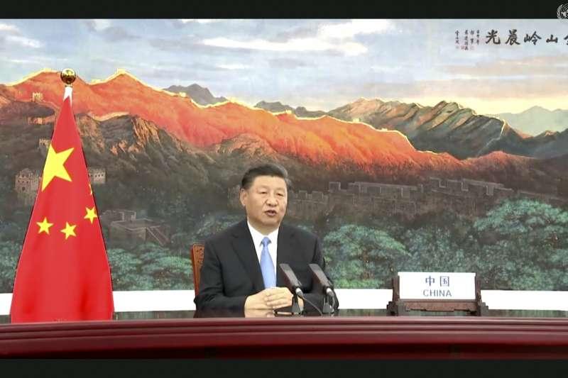 中國國家主席習近平錄製影片在聯合國大會總辯論上發言(AP)