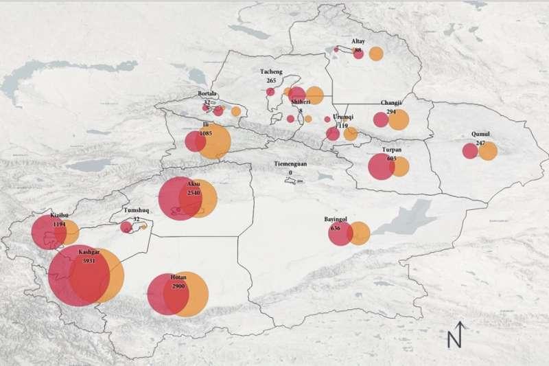 澳洲戰略政策研究所發現,中國當局3年來至少在新疆拆除了8500座清真寺。(取自澳洲戰略政策研究所網頁)