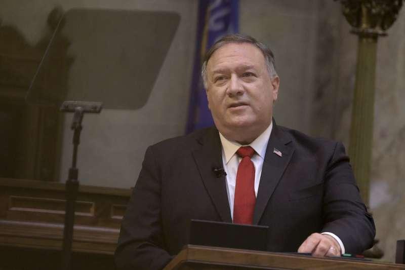 2020年9月23日,美國國務卿龐畢歐至威斯康辛州參議院演說(AP)
