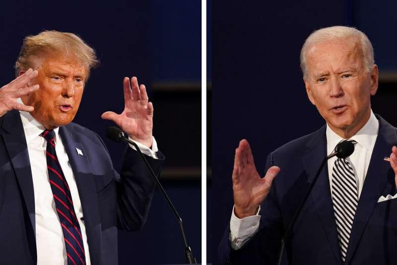在首場電視辯論中激烈交鋒的拜登與川普。(資料照,美聯社)