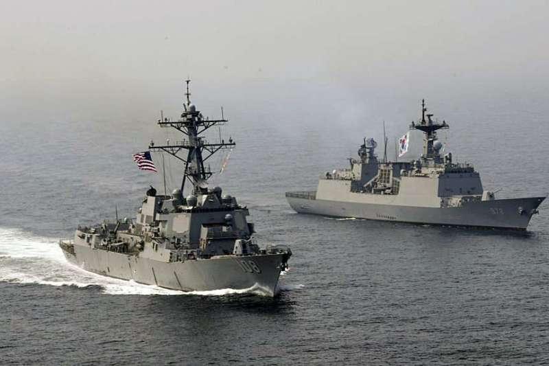 美韓海軍2017年4月25日舉行聯合演練。(美國海軍官網)