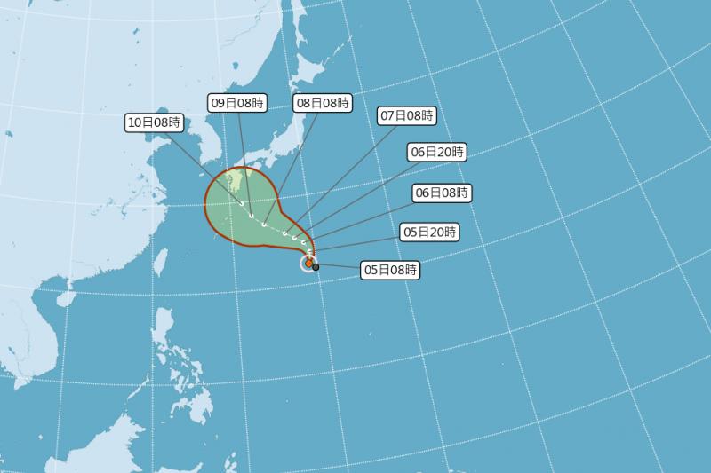2020年第14號颱風昌鴻形成。(圖/取自中央氣象局)