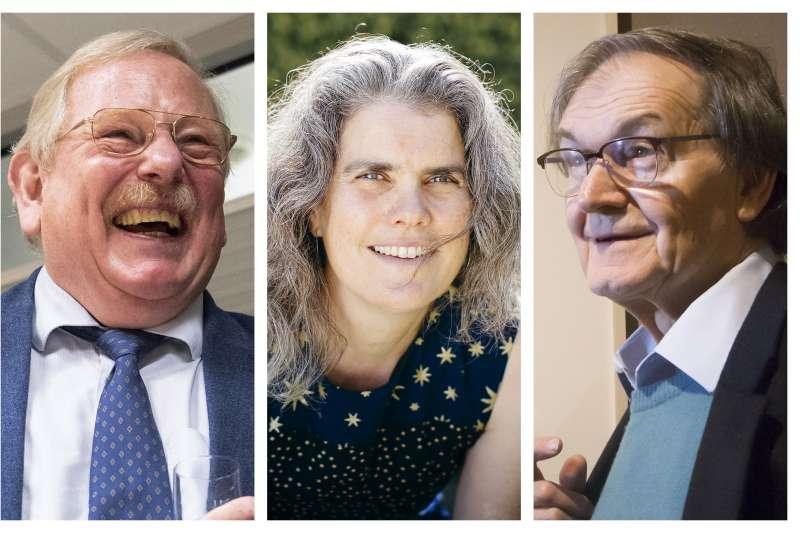 2020諾貝爾物理學獎得主,左起:根策爾(Reinhard Genzel)、吉茲(Andrea Ghez)、潘洛斯(Roger Penrose)(AP)