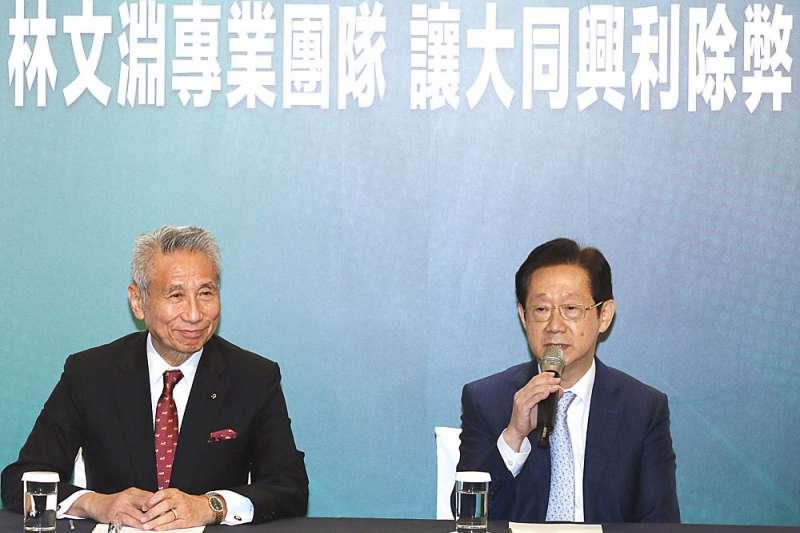 林文淵(右)說王文祥(左)用拯救大同的成就感說動他。(資料照,柯承惠攝)