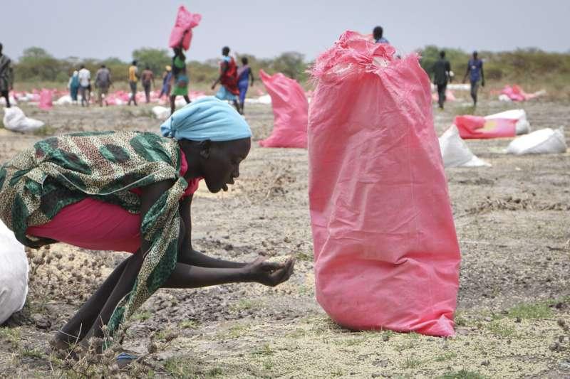 2020諾貝爾和平獎得主聯合國世界糧食計劃署在南蘇丹的工作。(AP)