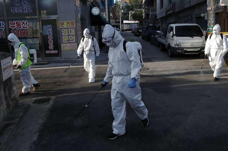 南韓防疫,新冠肺炎。(美聯社)