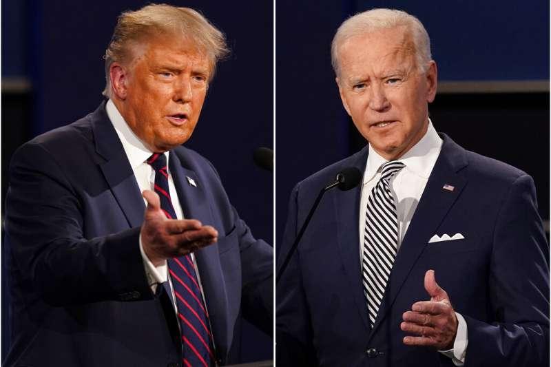 前立委沈富雄預測,美國大選最後的投票結果,將會是拜登(右)拿下350張選舉人票,而川普(左)則只拿下188張。(資料照,美聯社)