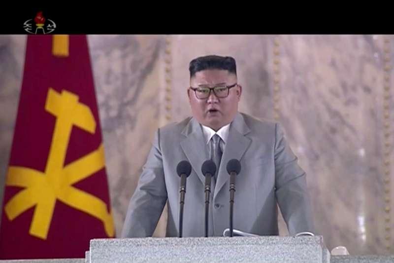 2020年10月10日,北韓(朝鮮)慶祝勞動黨成立75周年,於凌晨舉行閱兵式,金正恩親自主持(AP)
