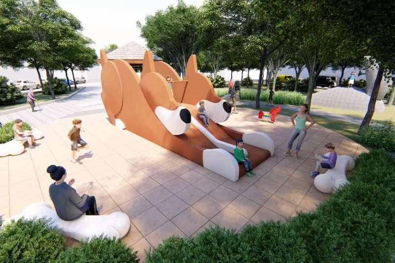 台中市政府規劃將老舊公園重新整建為共融公園,讓長輩、孩子及身障朋友都能一起玩。(圖/台中市政府提供)