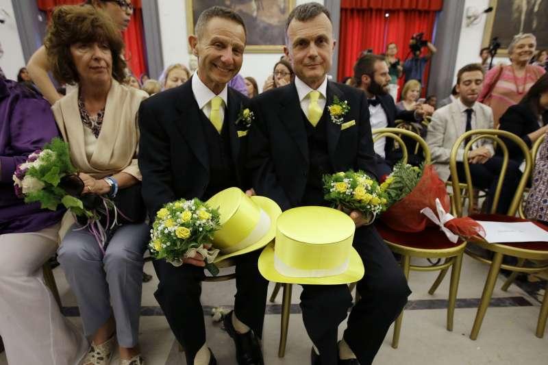 義大利法律准許同性戀伴侶民事結合(civil union),享有近似婚姻的權利(AP)