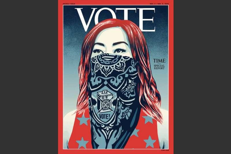 時代雜誌鼓勵投票,封面刊名首度換成VOTE(投票)。(翻攝推特)