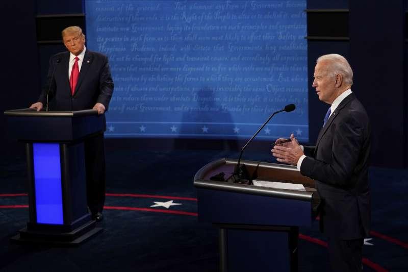 美國總統大選,民主黨人拜登勝出。圖為10月22日美國大選最終場總統辯論(AP)