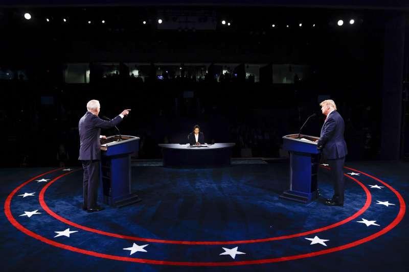 2020年10月22日美國大選最終場辯論會,於田納西州納士維(Nashville)的貝爾蒙特大學(Belmont University)舉行。(AP)