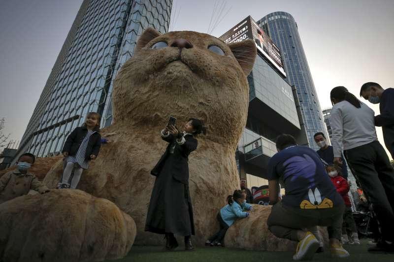中國北京的巨大貓像(AP)