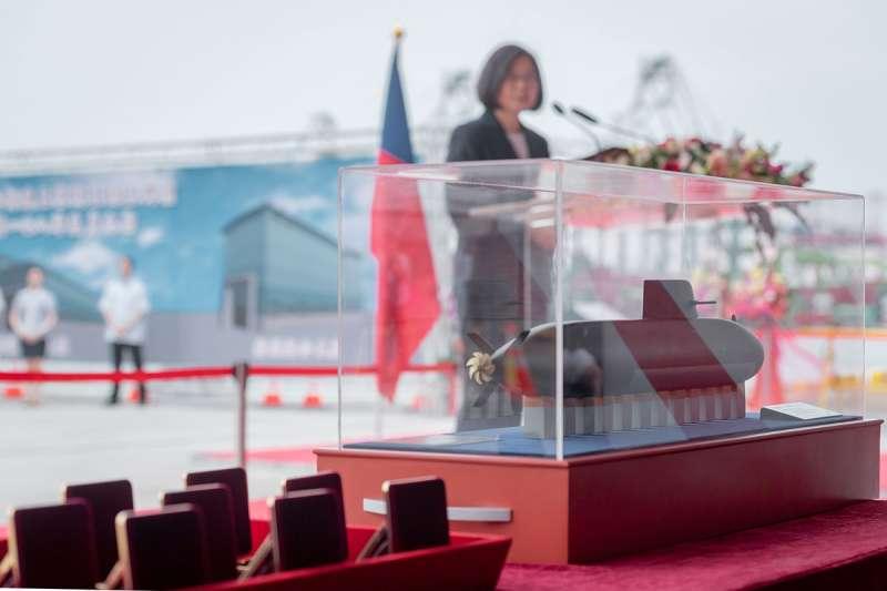 蔡英文總統主持「潛艦國造廠區動土典禮」,強調和平靠國防,落實國防自主,是她不變的決心。(總統府提供)